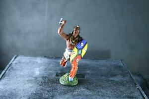 COMPOSITION PLASTINOL WW Wild West Indian On Foot Charge Frontal w Axe ~7cm 3 N