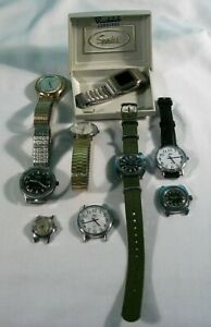 Lot Of 8 Timex Watches & 1 Speidel LED Watch, Military, Automatic