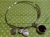 Alex And Ani Silvertone Ruby Red Birthstone Charm Adjustable Bangle Bracelet