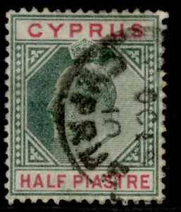 CYPRUS EDVII SG62a, ½pi, USED. Cat £60. BROKEN TOP LEFT TRIANGLE