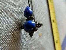 Vintage Natural Indigo Lapis Lazuli Gemstone  925 Sterling Silver Earrings