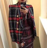 Designer Blazer Women's gold Buttons Plaid Tweed Wool Blazer Jacket coat outwear