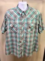 WRANGLER Men's Western Cowboy Gray Green Plaid Pearl Snap Shirt Short Sleeve XL