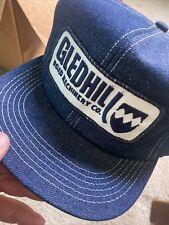 Vintage Denim Snapback Trucker Hat GledHill Farm Machinery Cap K-Brand USA Mint