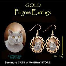 British Shorthair Silver Grey Cat - Gold Filigree Earrings Jewelry