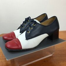 1950s Vintage Reigning Beauty Oxford Heels Patriotic USA Red White Blue 7.5