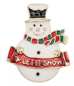 Gold White Snowman Let it Snow Christmas 20mm Snap Charm For Ginger Snaps