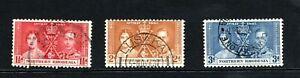 1937 GVI Northern Rhodesia Coronation sert of 3 used