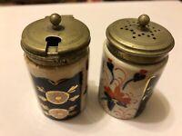 Antique Victorian IMARI Japanese Condiment Cruet Shakers w EPNS Lids