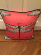 "HARLEQUIN DEMOISELLE FABRIC  PIPED CUSHION COVER  CORAL & MINT 14""x14"""