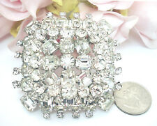 "Vintage Costume Jewelry  D & E Recessed Rhinestones Brooch Pin 2 1/2"" Large"