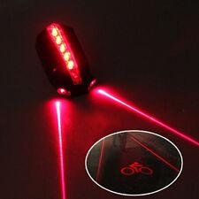Bicyclette VTT Eclairage Lampe Vélo Feu Arrière 5 LED 2 Laser Lumière Rouge Neuf