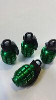 Green Grenade Car Bike Motorcycle BMX Wheel Tyre Valve Metal Dust Caps.Set of 4