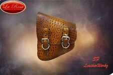 LaRosa Harley Softail/Rigid Frame Left Swingarm Bag-Cognac Alligator
