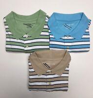 Men's 100% Combed Cotton Striped Short Sleeves Polo Golf Shirt Top XL & XXL NWT