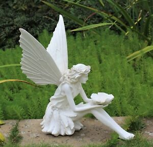 Large Garden Decor Ornament Fairy Sculpture Antique White Effect Outdoor Indoor