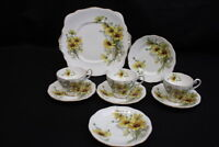 Lot of 9 Pc. Vtg. Royal Standard Brown Eyed Susan Flat Cups, Saucers and Plates