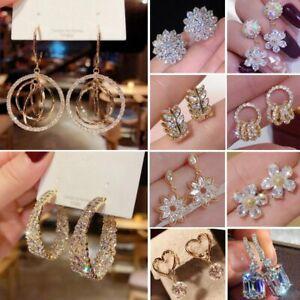 Gorgeous Women Earrings Stud CZ Crystal Cubic Zircon Dangle Drop Wedding Jewelry