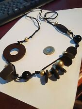 Wood and Gold Bead String Adjustable Necklace