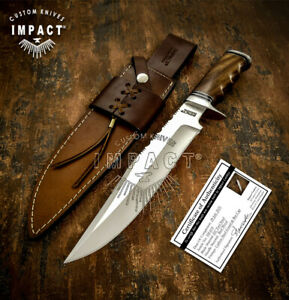 IMPACT CUTLERY RARE CUSTOM D2 BOWIE KNIFE BURL WOOD HANDLE
