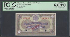 Bulgaria 10 Leva 1922 P35s1 Specimen Uncirculated