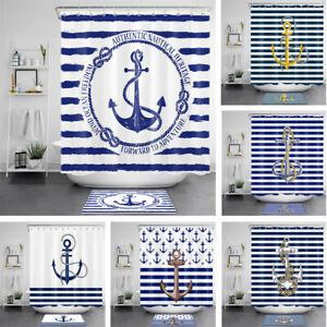 Anchor Shower Curtain Nautical Ocean Theme Blue White Stripes For Bathroom Decor