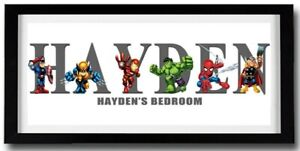 SUPER HERO SQUAD Personalised Name Print Art - Quality Frame Included - Marvel