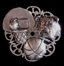 Matte Silver & Silver Plate Bulldog Basketball Pin Bull Dog Oxidized