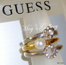3p GUESS Jeans Rhinestones Rings  Ring  Charms Gold Silver Tone  NWT Sz 8