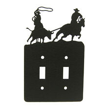 Team Roping black metal double light switch plate cover