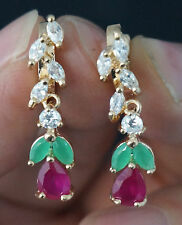 NATURAL EMERALD-RED RUBY-WHITE CZ  Dangle 9k GOLD EARRINGS