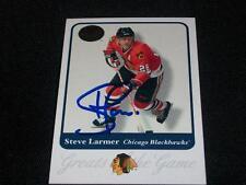 Chicago Blackhawks Steve Larmer Auto Signed 2001 Fleer GOTG Card #24  TOUGH  K