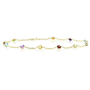 14K Yellow Gold Anklet Bracelet with 4mm Round Multi Color Gemstones 10 Inches