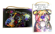 Pit Bull Gift Set - Dean Russo Modern Art Wooden Wall Plaques Dog Lover Signs