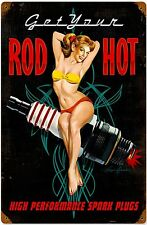 Get Your Rod Hot Spark Plugs metal sign     (pst 1812)
