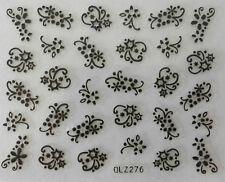 Nail art manucure stickers autocollants pour ongles: jolies fleurs noires