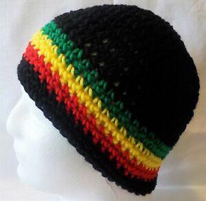 Rasta style Handmade BRAND NEW Crocheted Beanie Skull Hat fits adults & teens