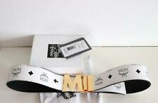 MCM White/Black Reversible Belt Claus M Gold Buckle