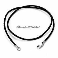 """Twisted Braided Rope Leather Cord Necklace Chain 22"""" Silver Clasp For Women Men"""