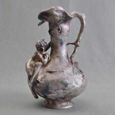 Jugendstil Vase Krug figürlich mit weiblichem Akt, signiert Ignaz Mansch um 1900