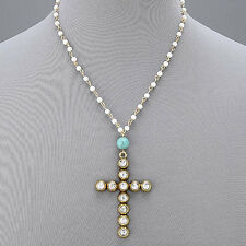 Pearl Gold Chain Turquoise Stone Ball Gold Hammered Cross Pendant Religious