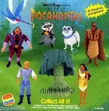 1995 Burger King Pocahontas MIP Complete Set, Lot of 8, Boys & Girls, 3+