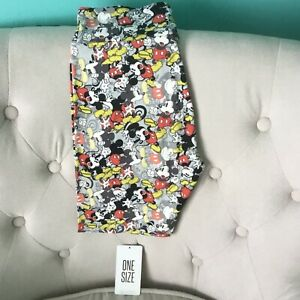 LuLaRoe OS Adult  Disney Mickey Mouse Leggings Gray Red