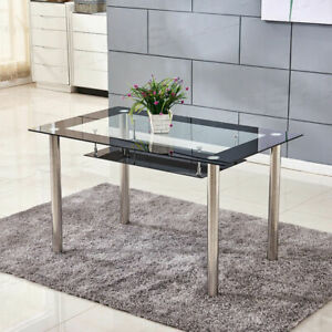 2 tier Modern Glass Dining Tables Chrome Legs Dining Roon Kitchen Furniture New