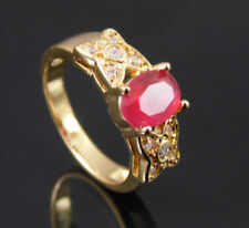 Gold Plated Ring Red Cubic Zirconia Solitaire And Accents UK Size N½ US Size 6¾