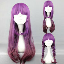 Cute Girl's Long Curly Wavy Hair Full Wig Purple Two Tone Lolita Wigs Cosplay