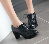 Womens Oxfords High Block Heels Shoes Wingtip Lace Up Pumps Brogue Retro Boots