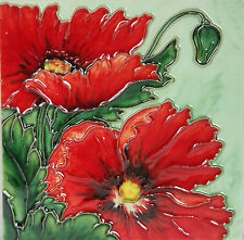 Red Poppy Ceramic Wall Art 15x15cm Plaque Tile Picture Decorative YH Arts Flower