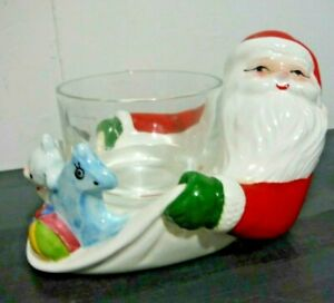 Vintage Fitz and Floyd Santa Claus Sack of Toys Candle Holder 1980 Made in Japan