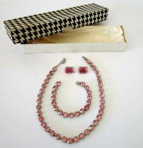 Beautiful vintage 1960s Silvertone Pink rhinestone Necklace & Bracelet Set